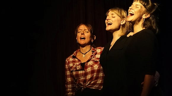 Portland-based singer-songwriter Kathryn Claire (right) is joined by The Lasses (Margot Merah, left, and Sophie Janna) for an evening of harmony April 20 at the Treehouse Cafe on Bainbridge Island.