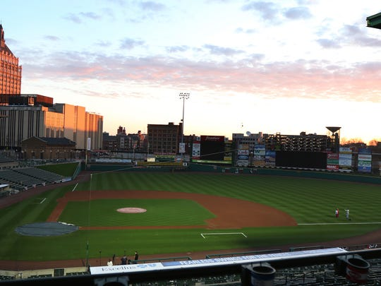 Sunrise over Frontier Field on Opening Day 2017, the 20th anniversary season of Red Wings baseball at the stadium.