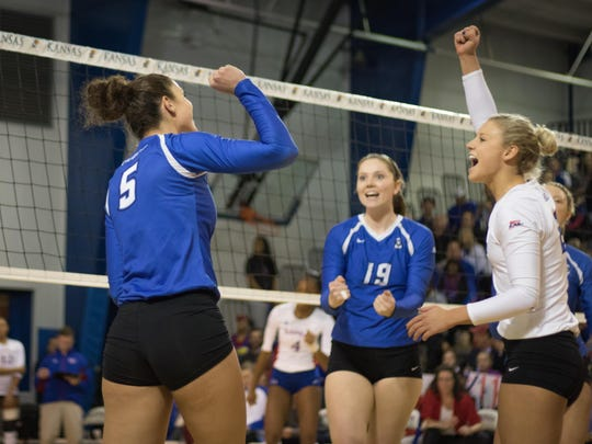 Former Ankeny Centennial star Jaali Winters, left, and former Ankeny standout Megan Ballenger, middle, helped the Creighton volleyball team to a thrilling five-set victory over fifth-seeded Kansas in the second round of the NCAA Tournament on Dec. 2 at Lawrence, Kan. The duo is shown here with Creighton libero Brittany Witt. The Bluejays (28-6) will play Michigan (24-10) on Friday in the Austin Regional at 5:30 p.m.
