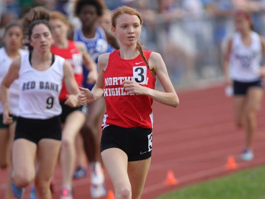 Monica Hebner, of Northern Highlands, runs the 3200 meters.  Hebner finished in third place with a time of 10:43. Saturday, June 9, 2018