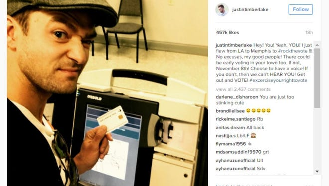 Pop star Justin Timberlake posted this selfie on Instagram from a Germantown, Tennessee, voting booth on Monday.