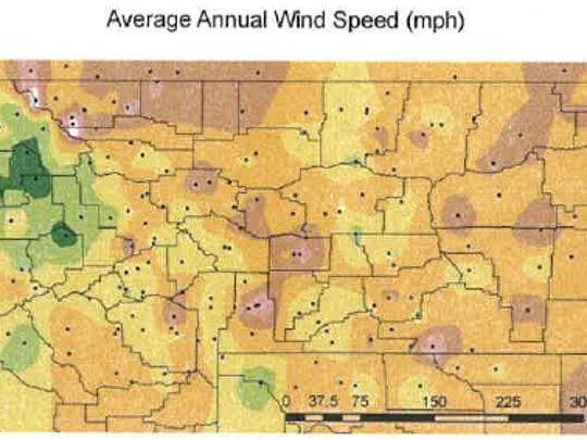 The pinkish colors indicate the windiest areas in Montana.