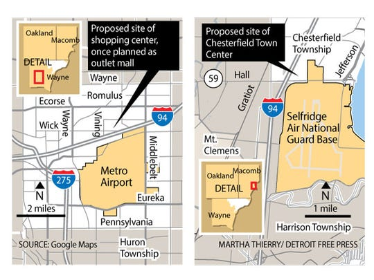 Proposed sites for shopping and town center