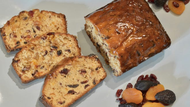 This lighter fruit cake has real dried fruit and a poundcake batter.