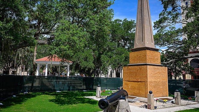 St. Augustine's Confederate Memorial on the Plaza de la Constitucion in St. Augustine on Thursday.