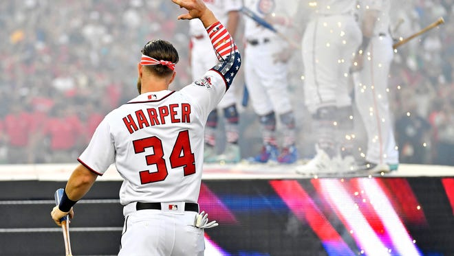 Bryce Harper is introduced before the derby.