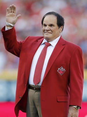 Pete Rose waves to the crowd as he is recognized as one of the Franchise Four ahead of the 2015 MLB All-Star Game at Great American Ball Park in Cincinnati.