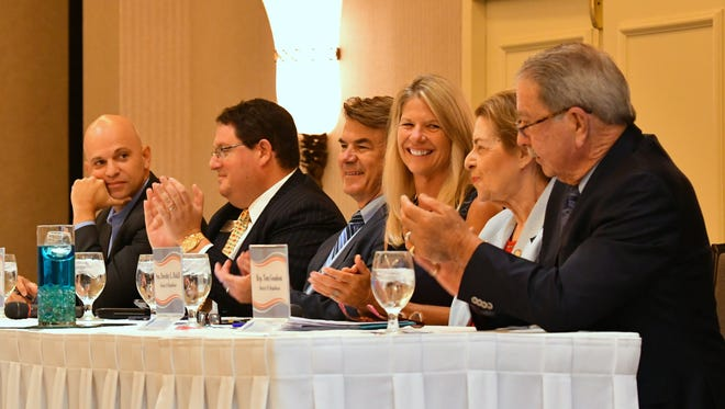 Panelists at the State of the State forum were, from left, Rep. Rene Plasencia, Rep. Randy Fine, Rep. Thad Altman, Sen. Debbie Mayfield, Sen. Dorothy  Hukill and Rep. Tom Goodson.