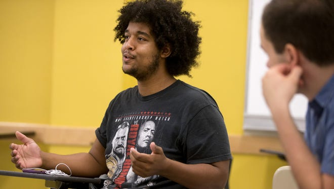 ASU student Andre Maestas participates in a meeting for the ASU chapter of Students for Sensible Drug Policy on the Tempe campus on Oct. 29, 2015.