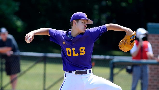 De La Salle's Easton Sikorski pitches against Saline in the Division 1 championship game Saturday.