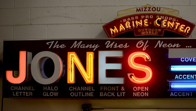 Samples of neon signs at Jones Sign Co. in Lawrence.