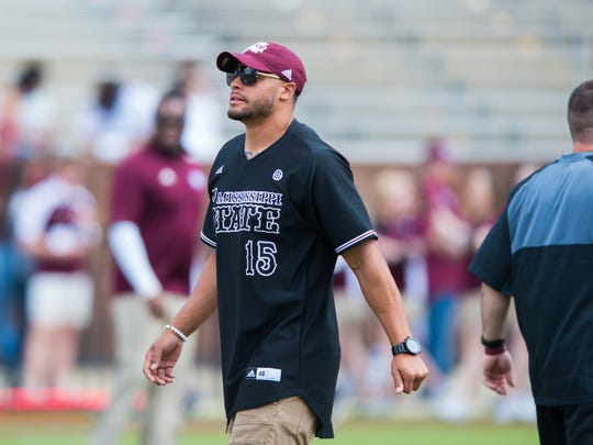 Former Mississippi State quarterback Dak Prescott before the 2018 Maroon & White spring game in Starkville.