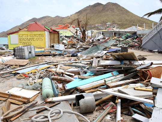 Ddestruction in Grande Case, Saint Maarten on September 12, 2017.