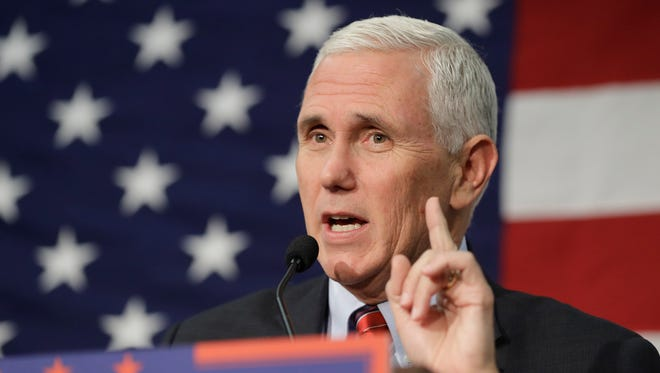 FILE -In this Sept. 30, 2016 file photo, Republican vice presidential candidate, Indiana Gov. Mike Pence speaks in Fort Wayne, Indiana.