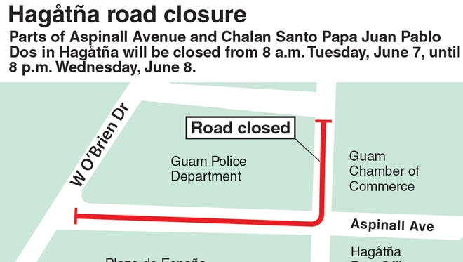 Roads in Hagåtña near the Guam Police Department will be closed Tuesday and Wednesday.