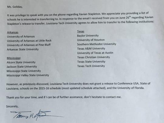 This letter sent from Louisiana Tech to Xavian Stapleton