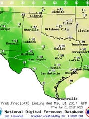 Precipitation map showing forecast for Texas on Wednesday
