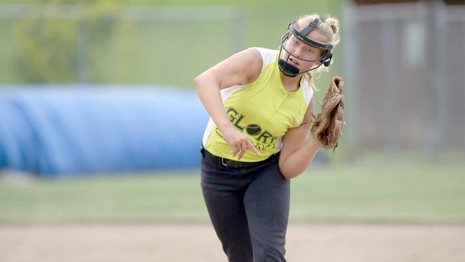 Moberly Glory shortstop Ayla King throws out a runner for Monteer Plants &Baskets in the fourth inning Monday night in Babe Ruth 16Usoftball at Rolling Hills park in Boonville.
