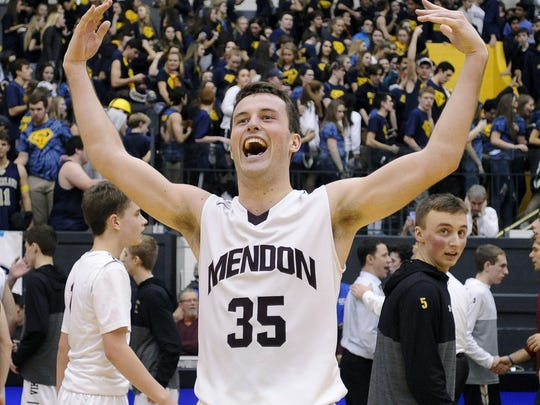 Pittsford Mendon's Matt Powers reacts to the crowd after a win over Pittsford Sutherland in the Rainbow Classic at the University of Rochester on Friday, Jan. 19, 2018. Pittsford Mendon beat Pittsford Sutherland 68-63 in overtime.