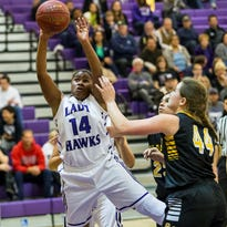 Mission Oak's Kaelah Mundley goes up for a shot during Thursday's quarterfinal win over Golden West. Mission Oak hosts Arvin today in the Division III semfinals. Game time is 7 p.m.