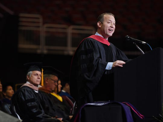 Congressman Josh Gottheimer gives the Commencement Address  during the Ramapo College Commencement at Prudential Center in Newark on 05/10/18.