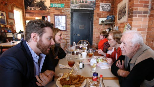 Rosalynn and Jimmy Carter meet with Sean Parker at the Jimmy Carter National Historic Site in Plains, Ga., to discuss immunotherapy and drug accessibility.