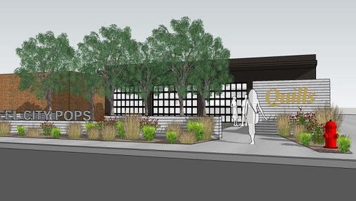 Rendering of a joint Quills Coffee and Steel City Pops shop in St. Matthews.