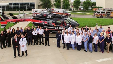 The West Chester Hospital trauma team, along with members of West Chester Township's fire personnel, are pictured at the hospital, which was recently certified as a level III trauma center