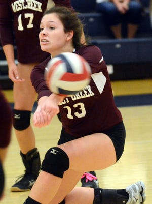 West Creek High junior Chloe Clifton passes a serve during the first game of the Region 5-AAA volleyball tournament Tuesday in Portland.