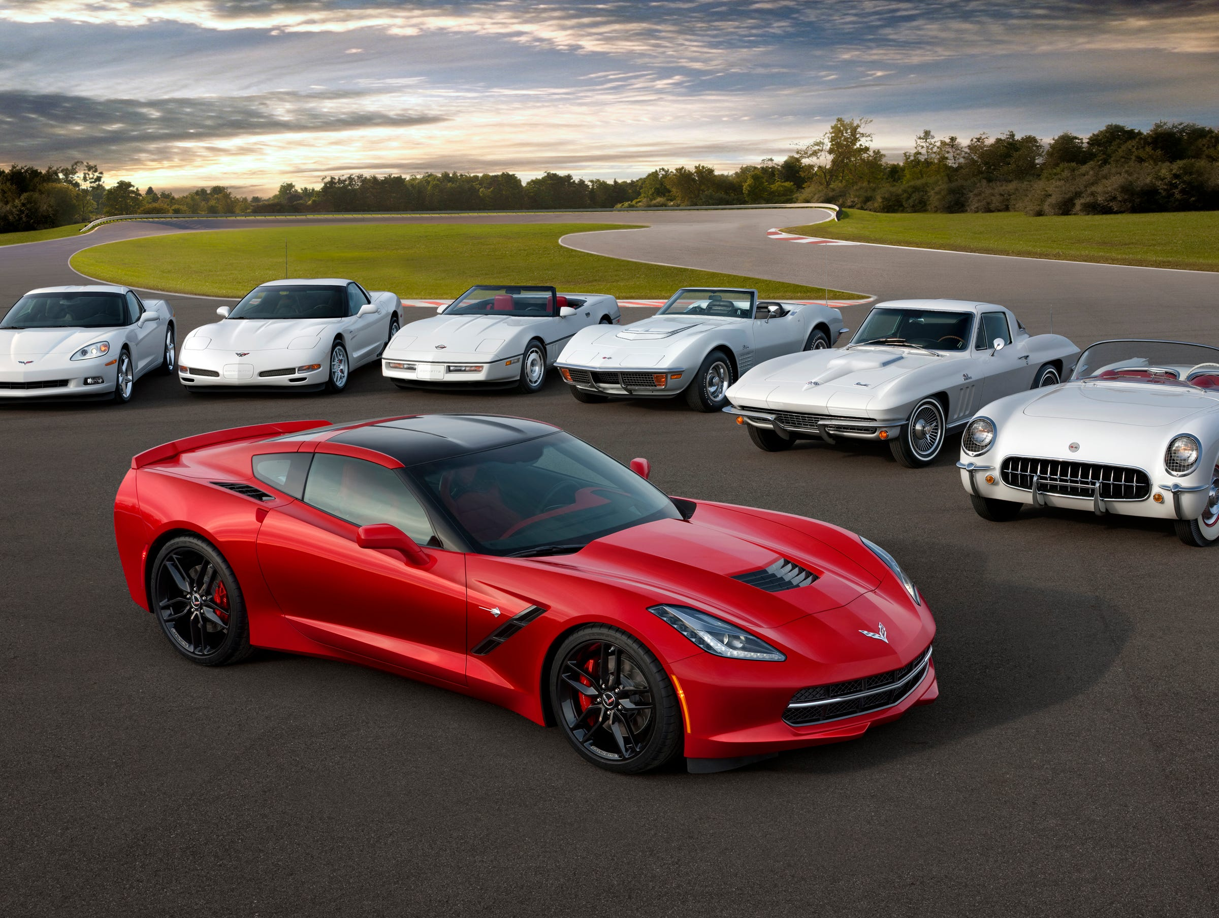 60 years of sports cars: The seven generations of Chevrolet Corvette going back to the original that rolled out in 1953.