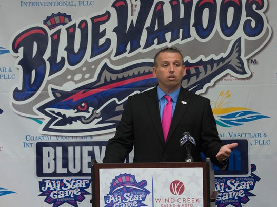 Blue Wahoos President, Jonathan Griffith, announces the partnership with Wind Creek Casino and Hotel in Atmore to host the 2017 Double A All Star Game in Pensacola in June.
