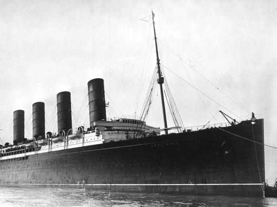 """The Lusitania comes into port, ca. 1907-1913. Its sinking by a German U-boat in 1915, related in the book """"Dead Calm,"""" helped propel the U.S. into World War I."""