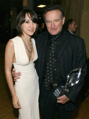 FILE  AUGUST 11:  According to reports August 11, 2014 actor Robin Williams has died of a suspected suicide in Tiburon, California.  He was 63. LOS ANGELES - JANUARY 09:  (EXCLUSIVE ACCESS) Zelda Williams and Robin Williams backstage during the 33rd Annual People's Choice Awards held at the Shrine Auditorium on January 9, 2007 in Los Angeles, California.  (Photo by Michael Buckner/Getty Images for PCA) ORG XMIT: 503816433 ORIG FILE ID: 72960495