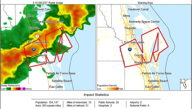 Radar images from the National Weather Service in Melbourne show a storm that prompted a tornado warning in parts of Brevard County.