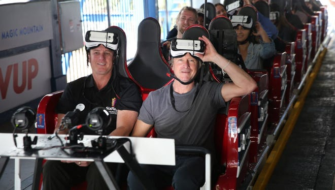 CMO Samsung, Marc Mathieu attends Samsung debut of the first virtual reality coaster powered by Samsung Gear VR at Six Flags Magic Mountain on March 25, 2016 in Valencia, California.