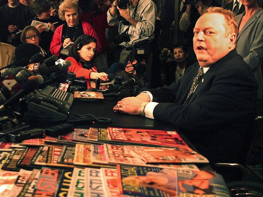 BEVERLY HILLS, UNITED STATES:  Larry Flynt, publisher of Hustler magazine, announces to the press 11 January that US Rep. Bob Barr(R-GA), one of seven House members acting as prosecutors in President Clinton's impeachment trial, allegedly had an adulterous affair, and drove his former wife Gail Vogel Barr to have an abortion. Flynt said that he made public this information about Barr's wife's abortion because according to Flynt, Barr once said abortion is equivalent to murder. Flynt said that he will reveal more adultery among members of Congress in the coming weeks.  AFP PHOTO   Mike NELSON/mn (Photo credit should read MIKE NELSON/AFP/Getty Images)
