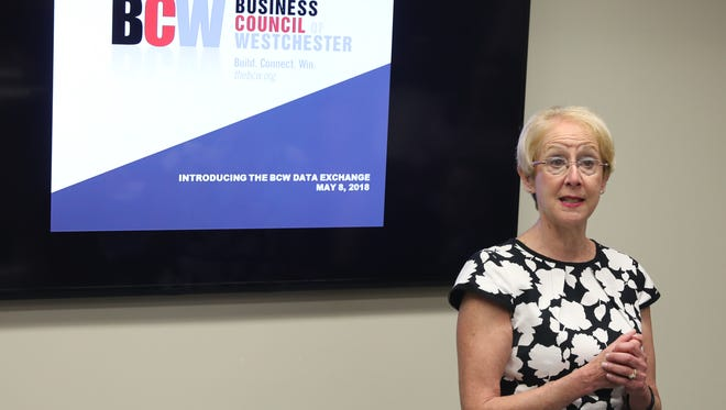 Marcia Gordon, President and CEO of the Business Council of Westchester, talks about the new BCW Data Exchange at their office in Rye Brook, May 8, 2018. The Data Exchange is an online data resource for Westchester County.