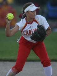 Carlisle shortstop sophomore Alyvia Dubois throws to