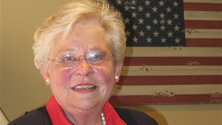 In this April 2014 photo, Lt. Gov. Kay Ivey poses for a photo in Alabama. Ivey has more campaign money and endorsements than her challenger, but he hopes to close the gap in the final weeks of the Republican primary by attacking her performance as the presiding officer of the Senate.(AP Photo/Phillip Rawls)