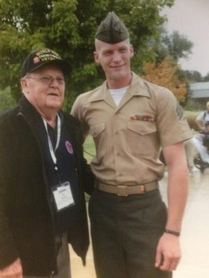 World War II veteran James See, of Sheboygan, was given the opportunity to fly to Washington DC on a Stars and Stripes Honor Flight last month and his grandson — sergeant Scott McCallister, an active duty Marine stationed at Camp Lejeune, N.C. — drove to surprise him at the World War II memorial.
