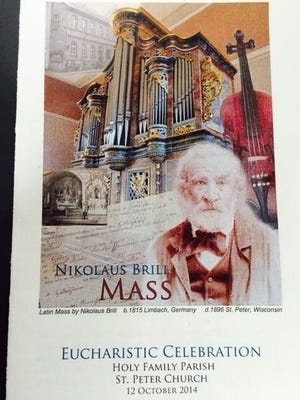 Latin hymns composed by Nikolaus Brill, father of Katharina Brill, who married Jacob Wirtz (son of John Wirtz I), were performed for the first time during a special Heritage Mass of the Wirtz family held Oct. 12 at St. Peter Church.