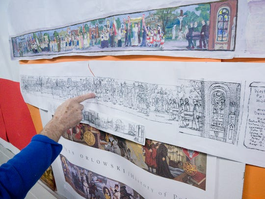 The work is arduous and detailed. There is a pencil sketch, then a painted version to explore colors to be used in the mural at St. Colette in Livonia.