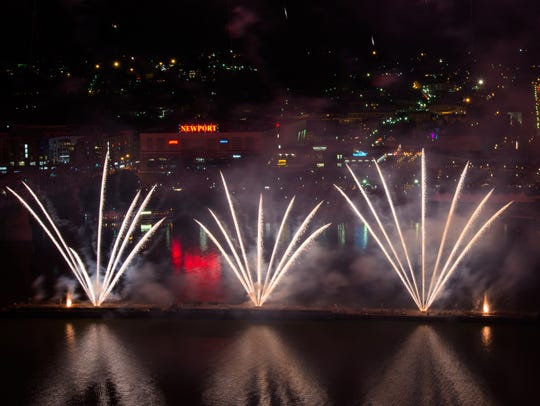 Rozzi's Famous Fireworks soar over the Ohio River during