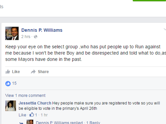 A screen capture of a Facebook post by Wilmington Mayor Dennis P. Williams on Friday is shown.