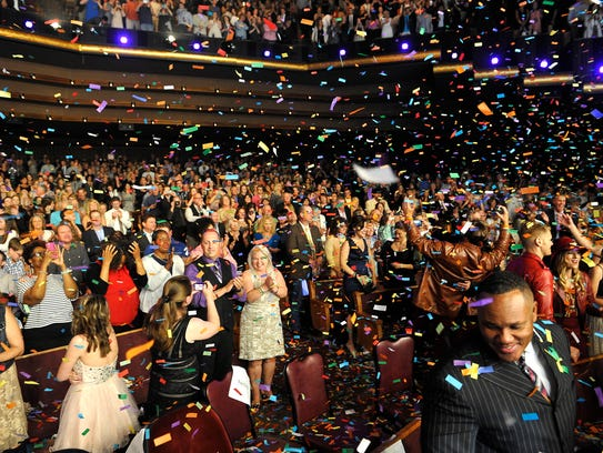 "The audience was covered in confetti after Mercy Me performed ""Greater"" at the K-Love Fan Awards at the Grand Ole Opry House  on May 31, 2015."