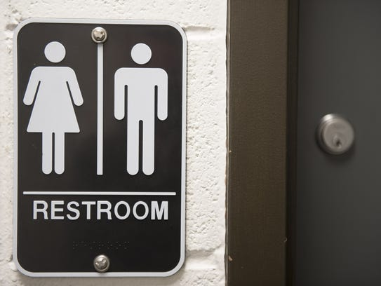 Gender neutral bathroom sign at the Rutgers University–Camden
