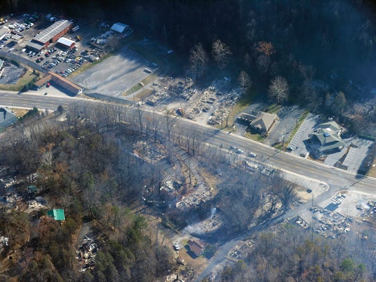 This aerial photo shows, shows destroyed buildings