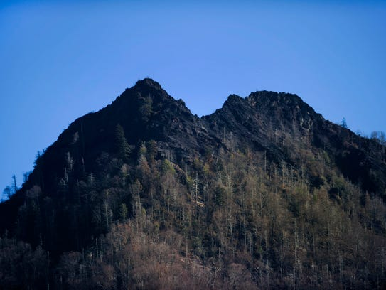 The wildfire-scarred Chimney Tops is pictured Dec.