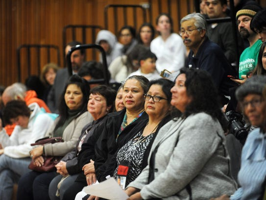 Community members attend a gathering at Hartnell College