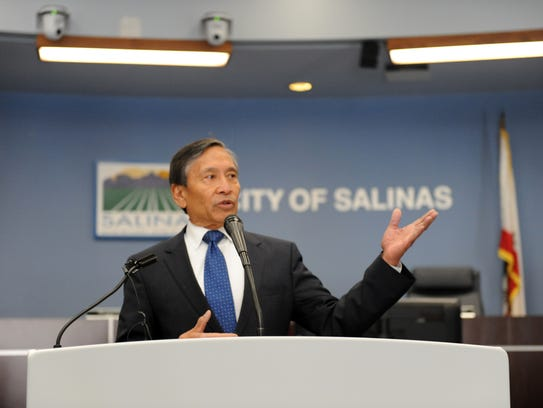 Salinas city manager Ray Corpuz announces a major open